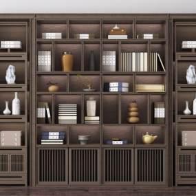 新中式书柜3D模型【ID:150299520】
