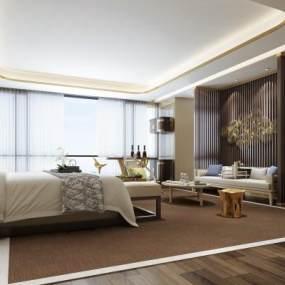 现代轻奢酒店客房3D模型【ID:741558326】