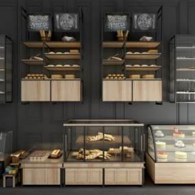 工业风面包保鲜柜展示柜组合3D模型【ID:143405164】