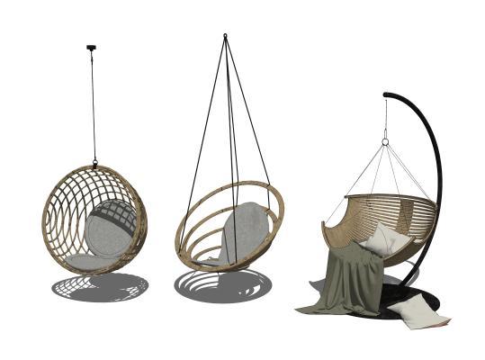 现代北欧吊椅组合SU模型【ID:348629341】