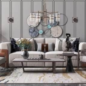 新中式沙发3D模型【ID:649359776】