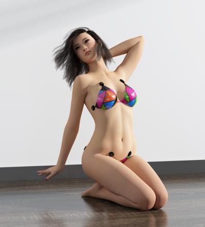 現代比基尼女人3D模型【ID:343133021】