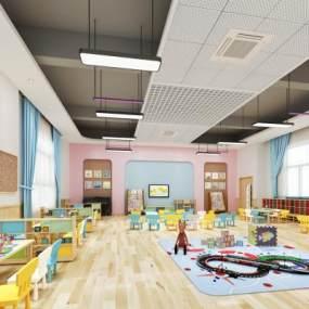 现代幼儿园课室3D模型【ID:944364653】