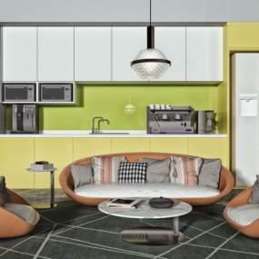 现代沙发茶几组合3D模型【ID:653992735】