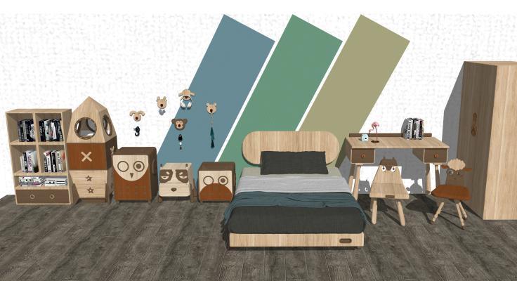 現代實木兒童家具組合1SU模型【ID:147736309】