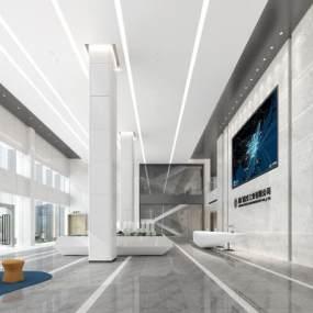 现代办公大厅3D模型【ID:944860245】