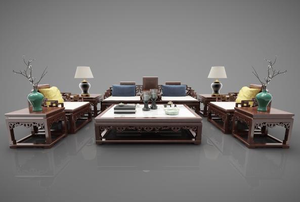 新中式风格沙发3D模型【ID:644700483】