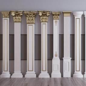 欧式描金柱子柱头组合3D模型【ID:353350488】