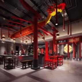 中式餐厅3D模型【ID:633132225】