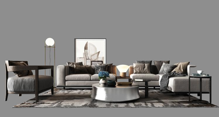 现代沙发组合3D模型【ID:648895744】