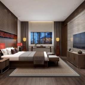 中式酒店客房组合3D模型【ID:735451323】