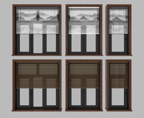 新中式鋁合金窗組合3D模型【ID:341709234】