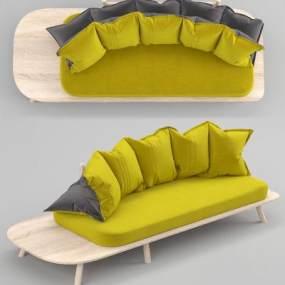 现代布艺休闲沙发3D模型【ID:634473575】