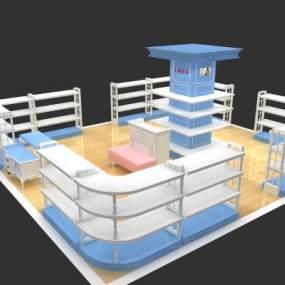 现代鞋展柜3D模型【ID:943346788】