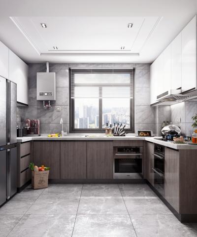 現代風格廚房3D模型【ID:547637353】