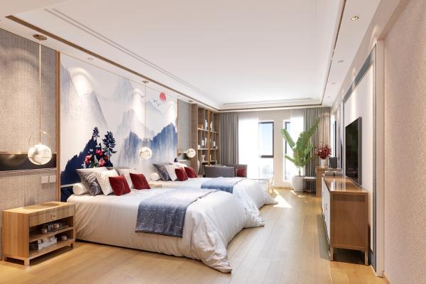 新中式酒店卧室3D模型【ID:742700394】