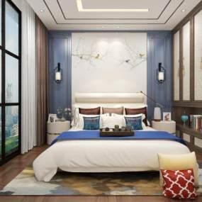 新中式卧室3D模型【ID:550931257】