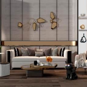 现代轻奢沙发椅子茶几组合3D模型【ID:635819791】