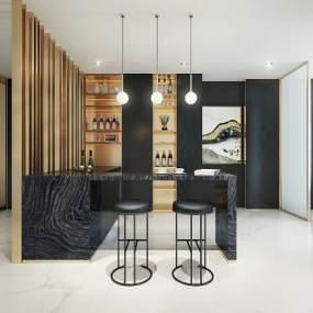 现代奢华餐厅吧台3d模型【ID:532235166】