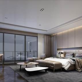 现代风格卧室3D模型【ID:543459294】