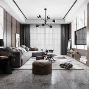 现代简约客厅3D模型【ID:535918082】
