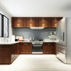 中式厨柜3D模型【ID:130636792】