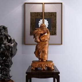 新中式老仙人雕像装饰摆件3D模型【ID:331352199】