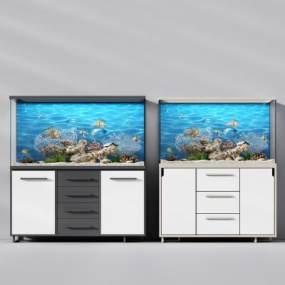 现代玻璃鱼北欧玻璃鱼缸3D模型【ID:130639838】