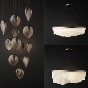 現代金屬吊燈組合3D模型【ID:750538848】