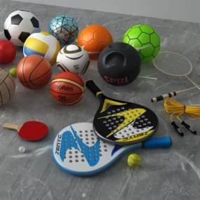 现代篮球足球乒乓球3D模型【ID:333739868】