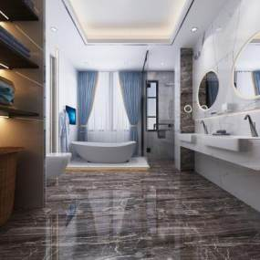 现代卫生间浴室3D模型【ID:550925524】