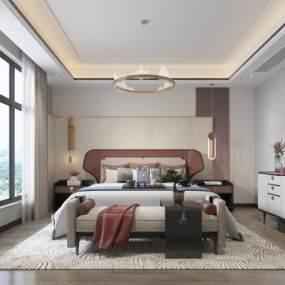 新中式卧室3D模型【ID:553977273】