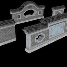 传统中式庭院风格围墙3D模型【ID:349216423】