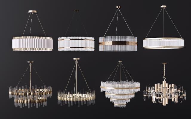 现代金属水晶吊灯组合3D模型【ID:750106881】