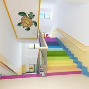 现代幼儿园楼梯间3D模型【ID:932468699】