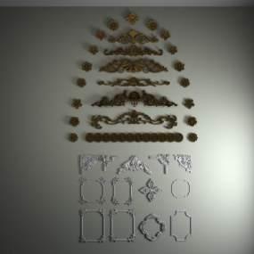 欧式雕花线型3D模型【ID:348444484】