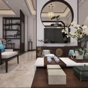 新中式酒店接待室3D模型【ID:933855369】