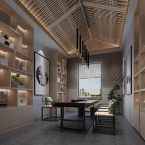 新中式茶室3D模型【ID:646774181】