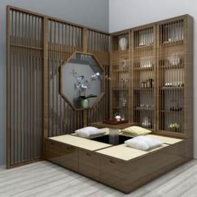 新中式榻榻米茶桌装饰柜组合3D模型【ID:930621016】