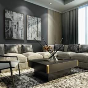 现代沙发组合3D模型【ID:633512751】
