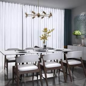 新中式餐桌椅吊灯组合3D模型【ID:837142862】