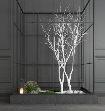 现代装饰树景观树干树干树枝地灯花草花卉摆件组合 园艺小品