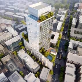 现代鸟瞰建筑高层3D模型【ID:132753978】