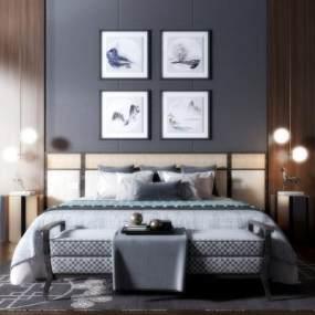新中式双人床挂画吊灯组合3D模型【ID:835729706】