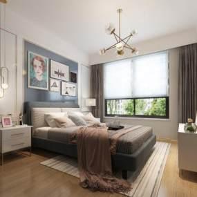 现代卧室3D模型【ID:536021220】