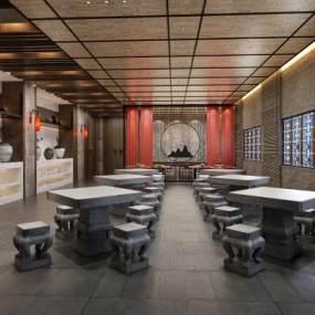 中式酒店餐厅自助餐3D模型【ID:635451631】