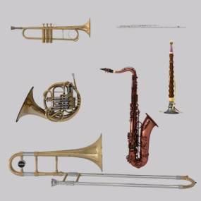 欧式简约萨克斯管铜管乐器喇叭3D模型【ID:330593982】