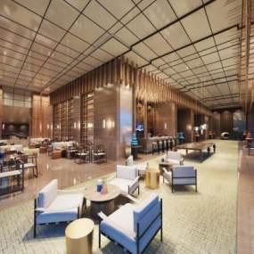 现代酒店会客区洽谈区休闲区3D模型【ID:752988245】