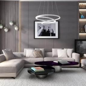 现代沙发茶几组合3D模型【ID:835774741】