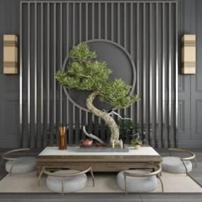 新中式无腿泡茶桌椅屏风壁灯盆栽盆景组合 3D模型【ID:841418920】